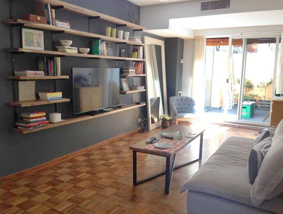 biblioteca mesa ratona madera peteriby y hierro