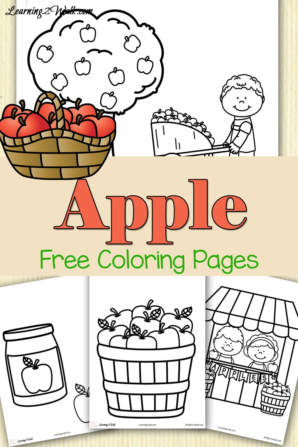 Colorful Free Apple Coloring Pages- Learning 2 Walk