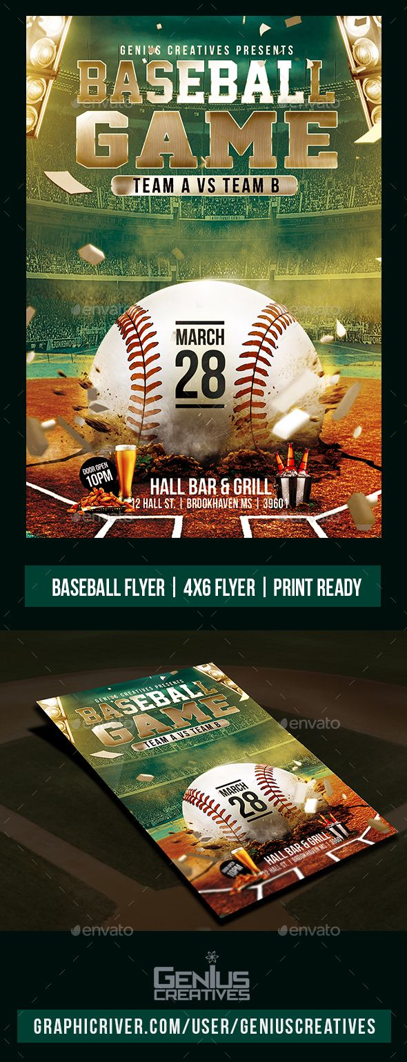 Baseball Game Flyer Template  Flyer Template Baseball Games And