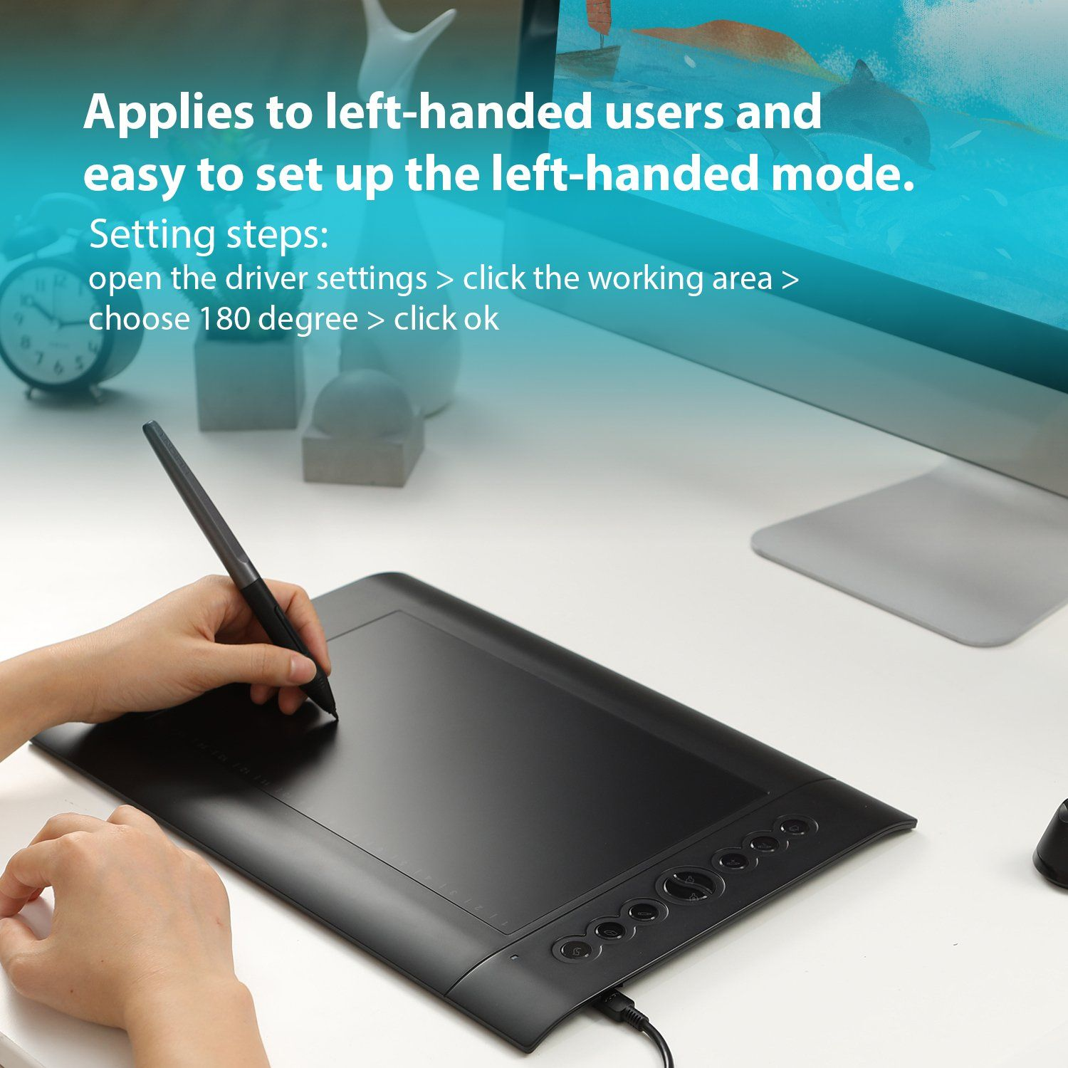 Huion H610 Pro V2 Graphic Drawing Tablet Tilt Function Battery-Free Stylus and 8