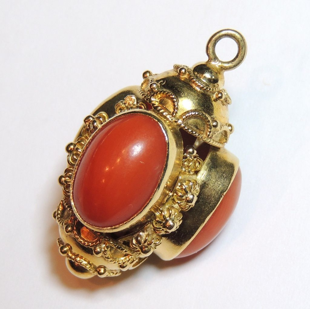 18K Etruscan Cannetille Coral Charm, Pendant, Fob, Yellow Gold, Cabochons...