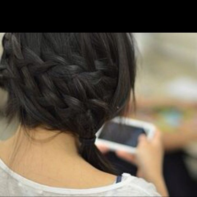 Double braid and a pony tail.