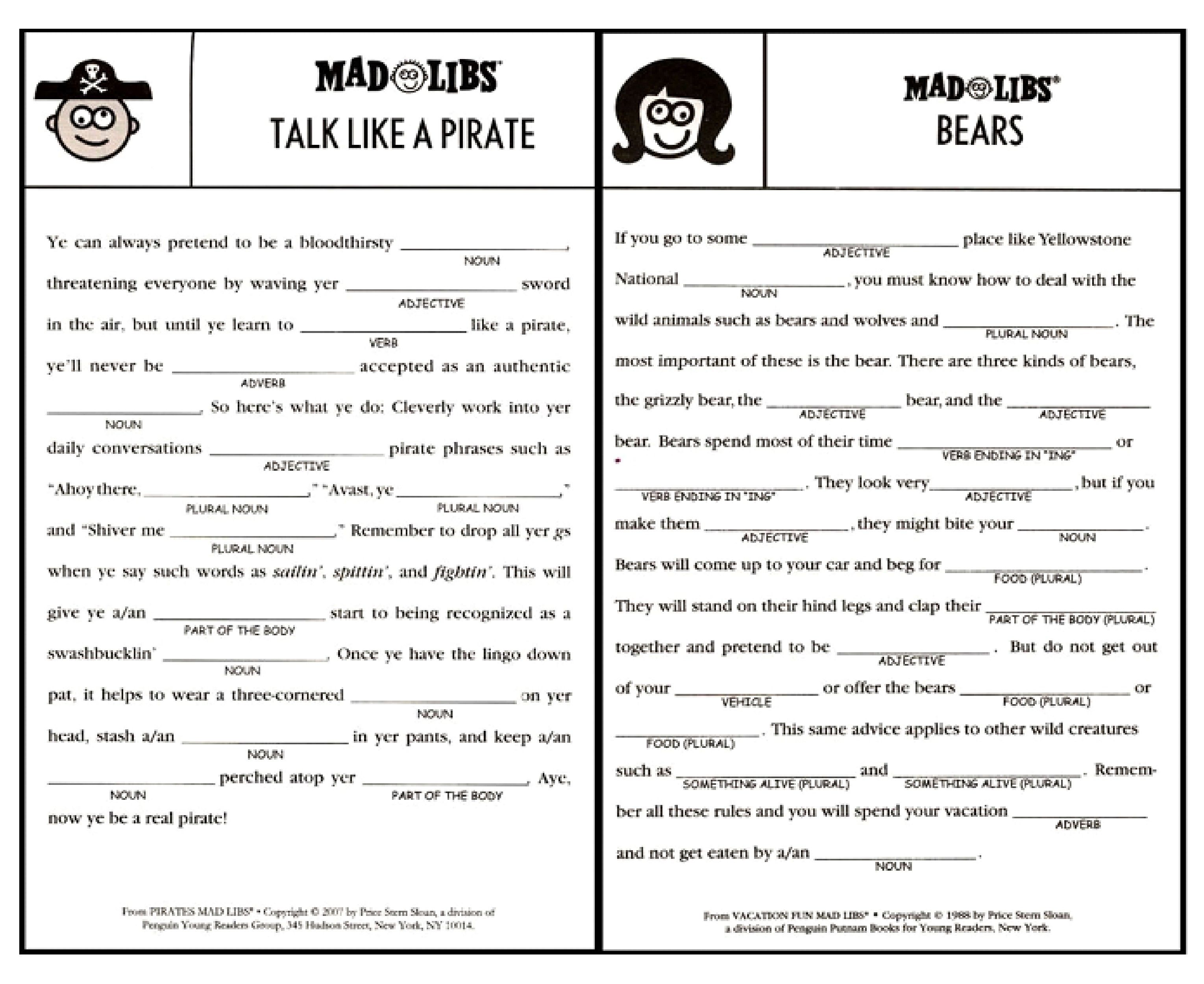 Worksheets Mad Libs Worksheets printable mad libs sheets for adults google search cousins camp road trip games activities