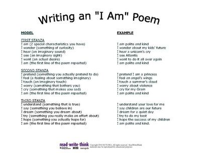 Writing An I Am Poem I Am Poem I Am Poem Template I Am