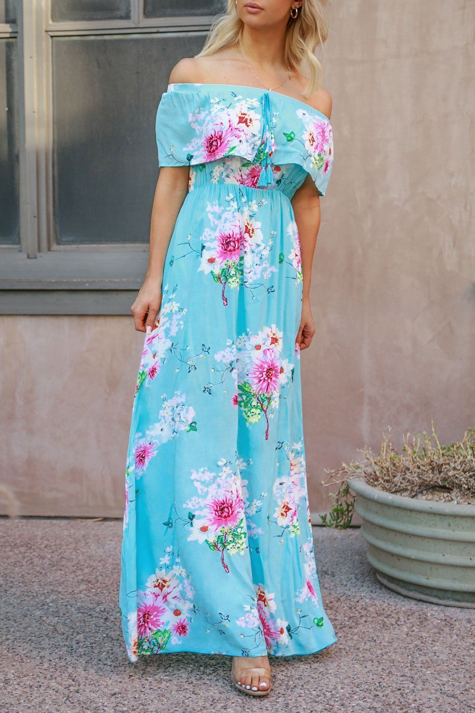 Strapless Floral Maxi Dress With Pockets Ivory Floral Maxi Dress Boho Dresses Long Maxi Dress Prom [ 2047 x 1365 Pixel ]