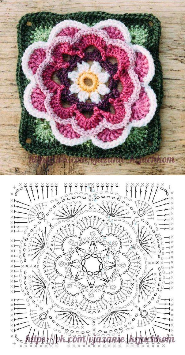 vk.com | Crochet stitch, puntos | Pinterest | Ganchillo, Cuadrados y ...