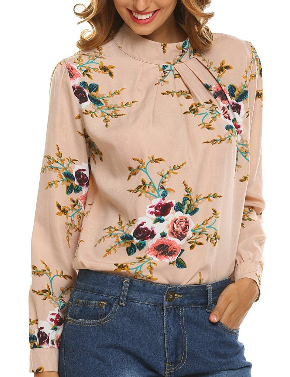 58bccba0348 Naggoo Women's Loose Chiffon Long Sleeve Floral Print Blouse Tops ...