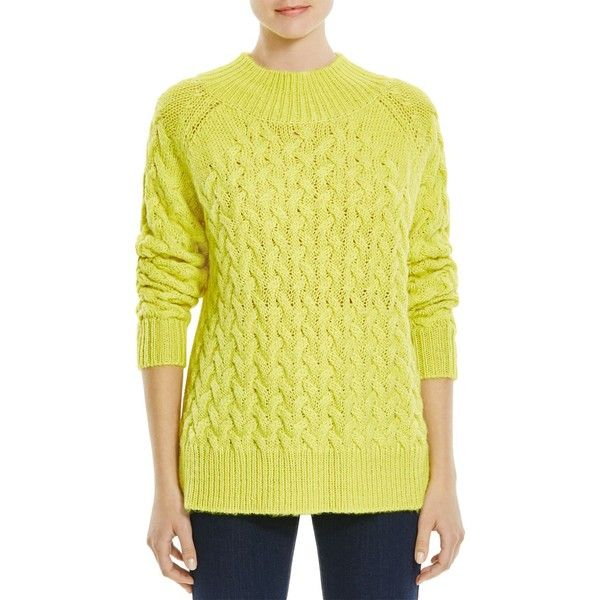827942fc3cc French Connection Glinka Cable Knit Sweater ($77) ❤ liked on Polyvore  featuring tops, sweaters, acid blonde, yellow top, chunky cable sweater,  chunky cable ...