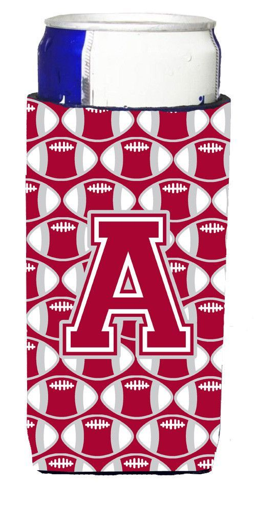 Letter A Football Crimson, grey and white Ultra Beverage Insulators for slim cans CJ1065-AMUK