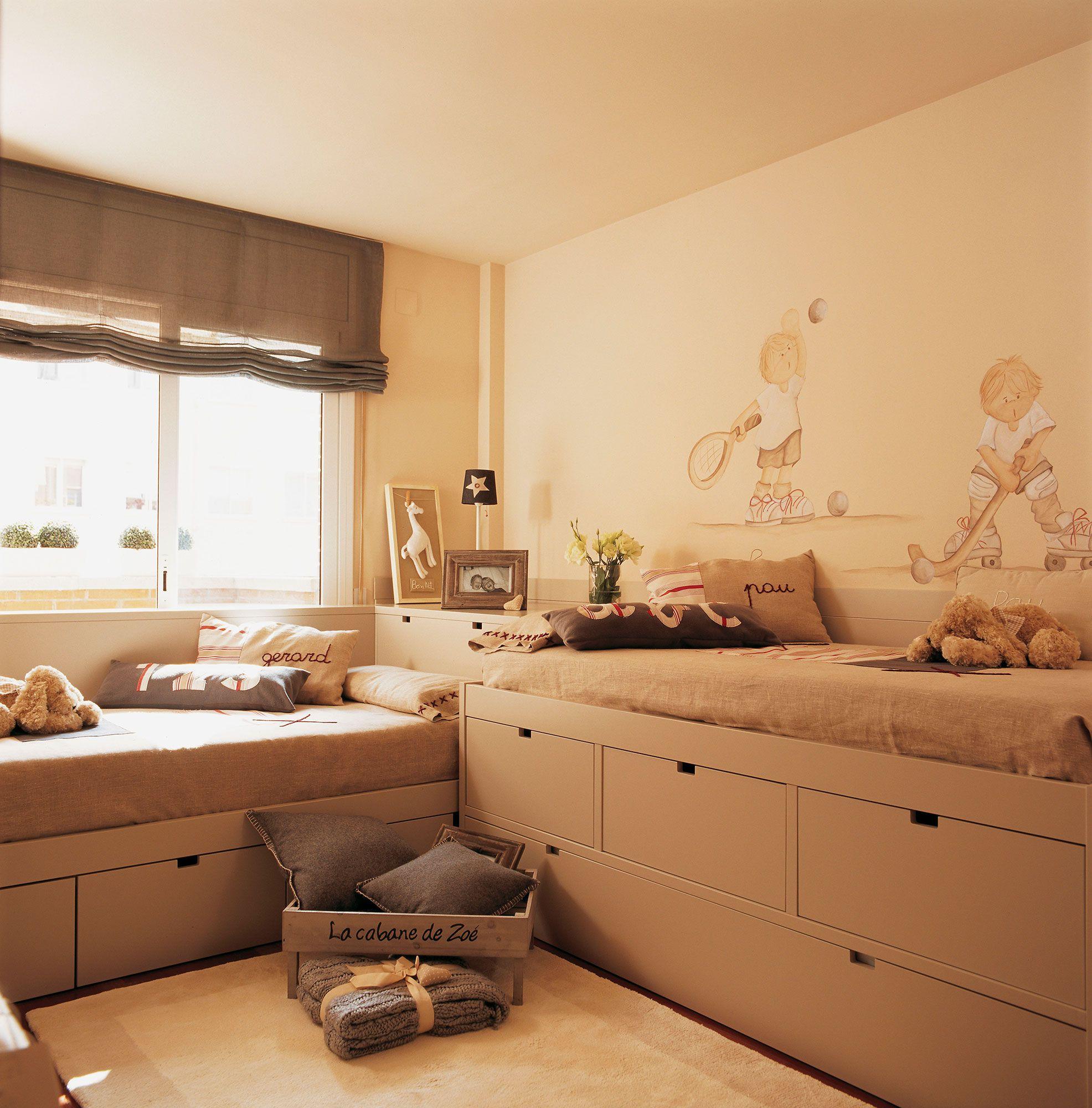 Habitaci n infantil con dos camas en l una cama nido y - Dos camas en una ...