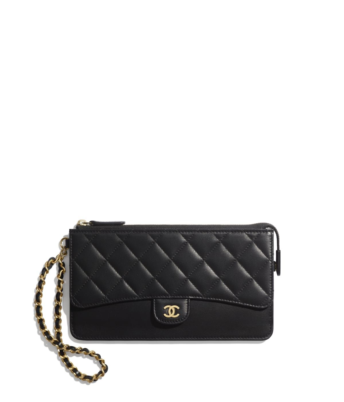 1b4e18aaafa08 Small Leather Goods of the Spring-Summer 2019 CHANEL Fashion collection :  Classic Pouch with Handle, lambskin, black on the CHANEL official website.