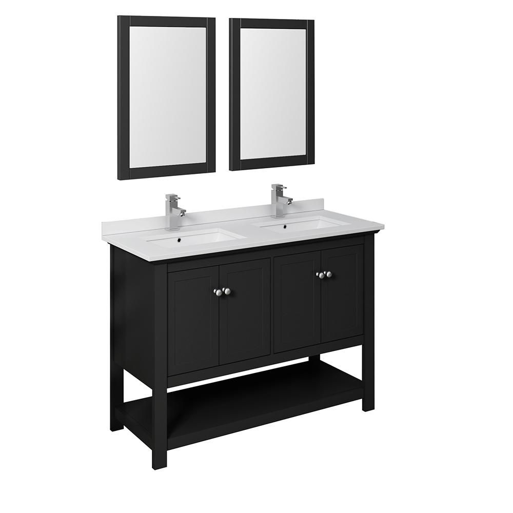 Fresca Manchester 48 In W Bathroom Double Bowl Vanity In Black With Quartz Stone Vanity Top In White With White Basins Mirrors Fvn2348bl D In 2019 Double Sink Vanity Vanity Sink Double Sink Bathroom