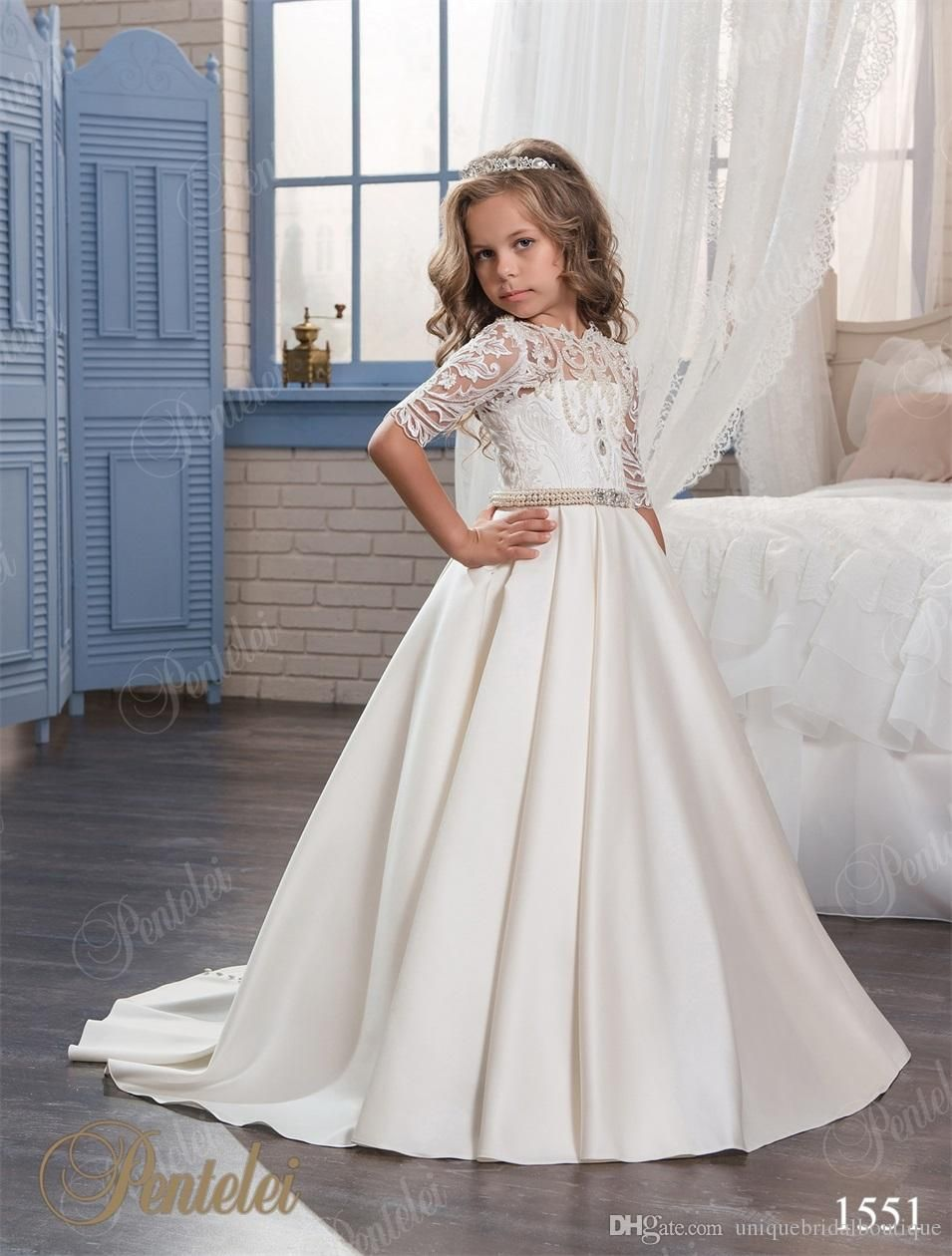 cheap flower girls dresses with half sleeves 2017 pentelei pearls appliques satin floor length first communion