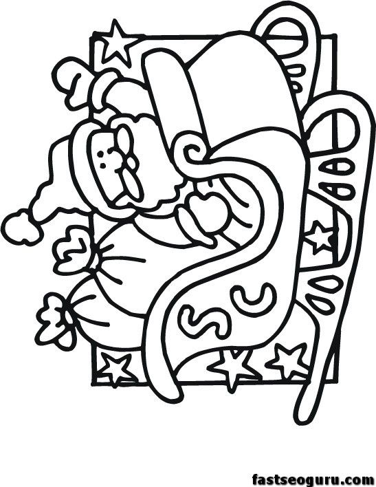 santa coloring pages for kids printable | Printable Santa Sleigh ...