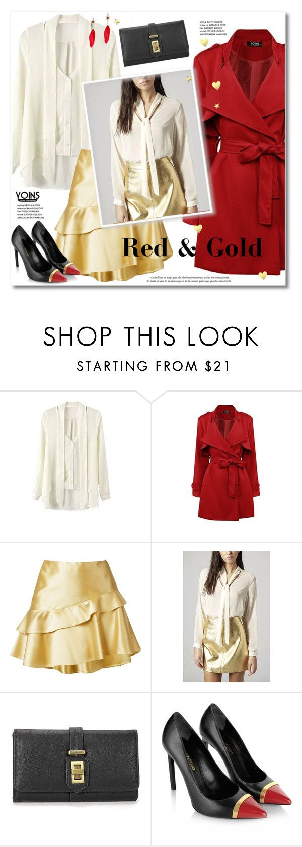 """""""Red & gold"""" by svijetlana ❤ liked on Polyvore featuring Martha Medeiros, Yves Saint Laurent, women's clothing, women, female, woman, misses, juniors, polyvoreeditorial and RedAndGold"""