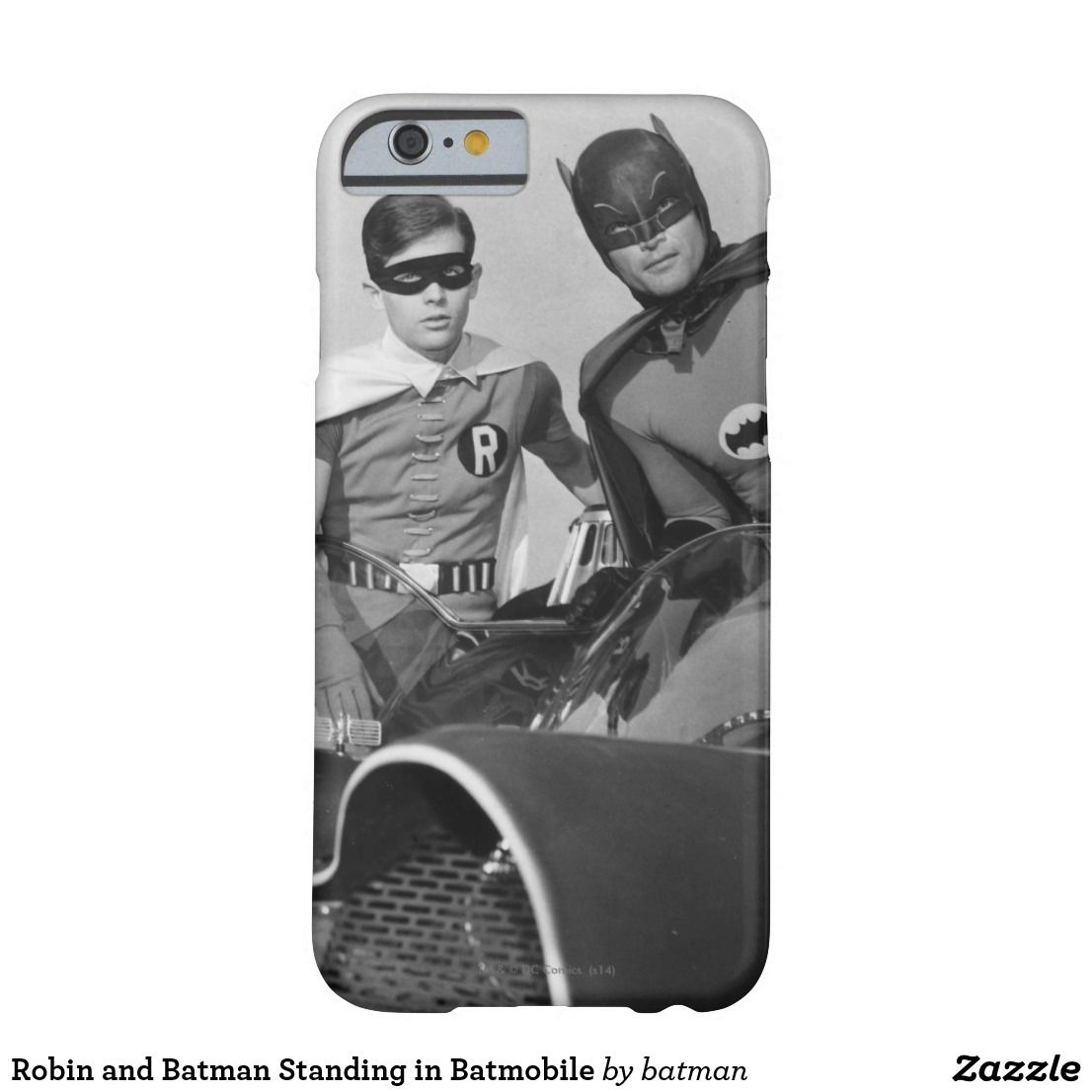 Robin and batman standing in batmobile casemate iphone