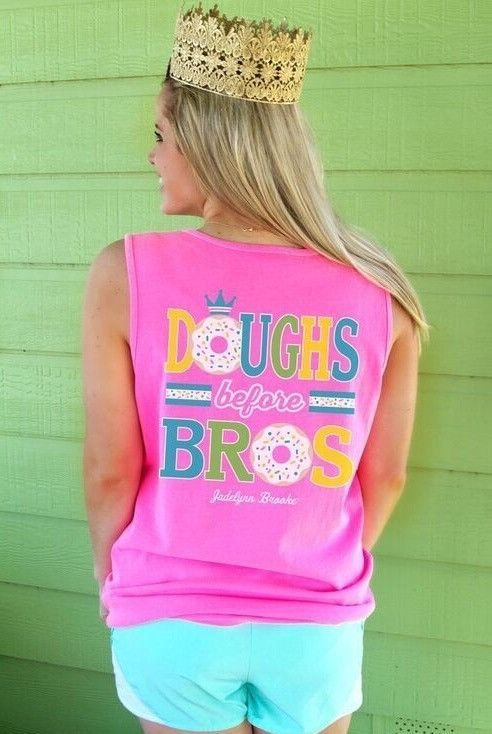 """HAPPY NATIONAL DONUT DAY! Celebrate one of our ~fave~ holidays with our adorable & best selling """"Doughs before Bros"""" neon pink tank! Now available for immediate shipping online at WWW.JADELYNNBROOKE.COM"""