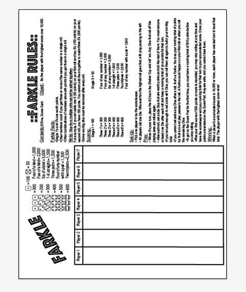 It's just an image of Printable Farkle Rules regarding large print
