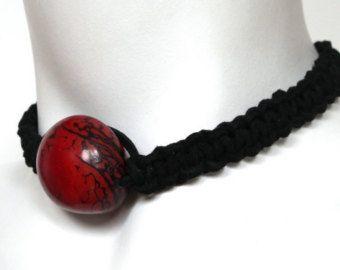 Rosso collana girocollo collana di perle filigrana rosso rosso