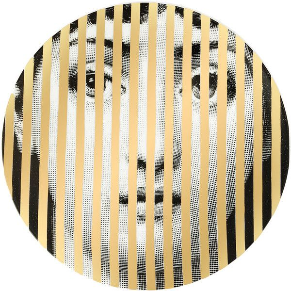 Fornasetti striped face plate (15.185 RUB) ❤ liked on Polyvore ...