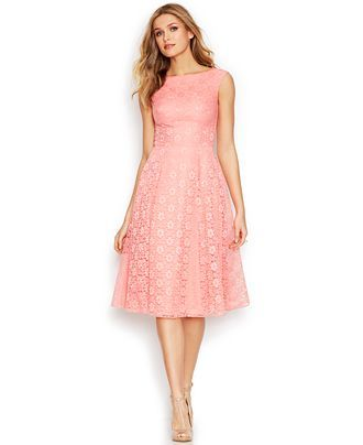 4893f62973 Betsey Johnson Floral-Lace Tea-Length Dress - Shop all Wedding Dresses -  Women - Macy's