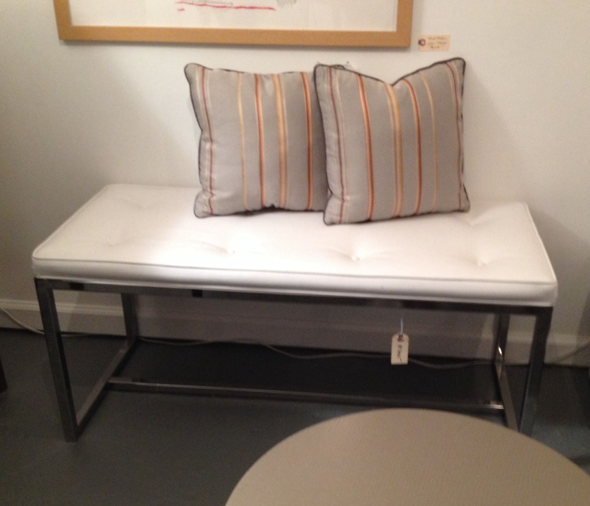 Midcentury modern steel bench with new vinyl upholstery