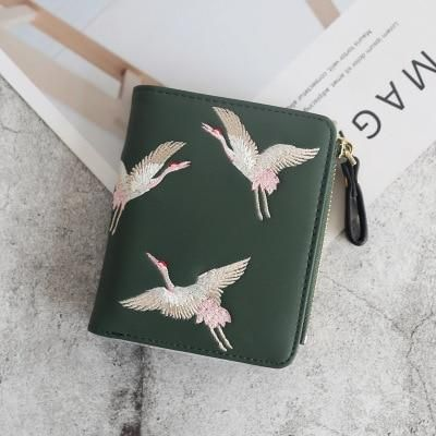 credit card luxury #credit #card #creditcard wallets Women Brand Famous Mini embroidery Wallets Purses Leather Small Luxury Female Short Coin Zipper Purse Credit Card 140 - green140