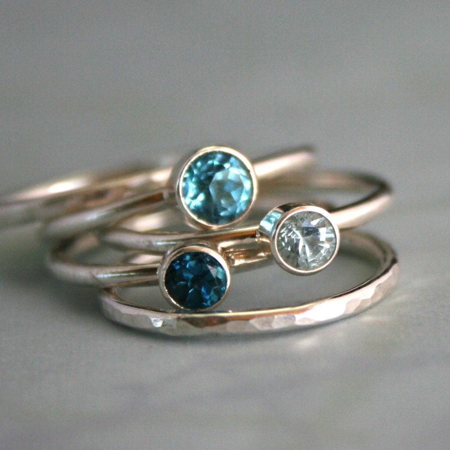 Opal Stacking Ring Set of Five in Sterling Silver