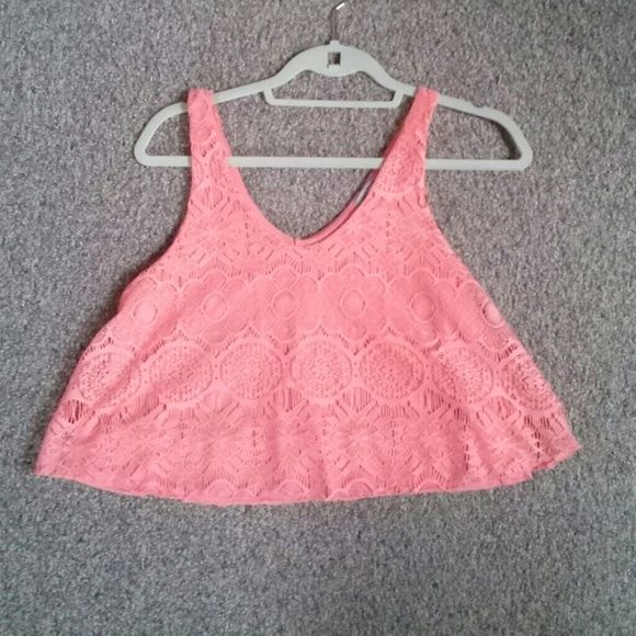 Charlotte russe coral crop top Lacey, NEVER WORN Charlotte Russe Tops Crop Tops