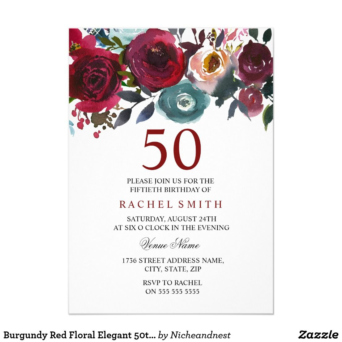 Burgundy Red Floral Elegant 50th Birthday Invite | { Happy Birthday ...