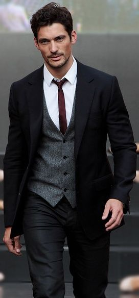 Black suit, grey vest, maroon tie.. men's suit.. love this ...