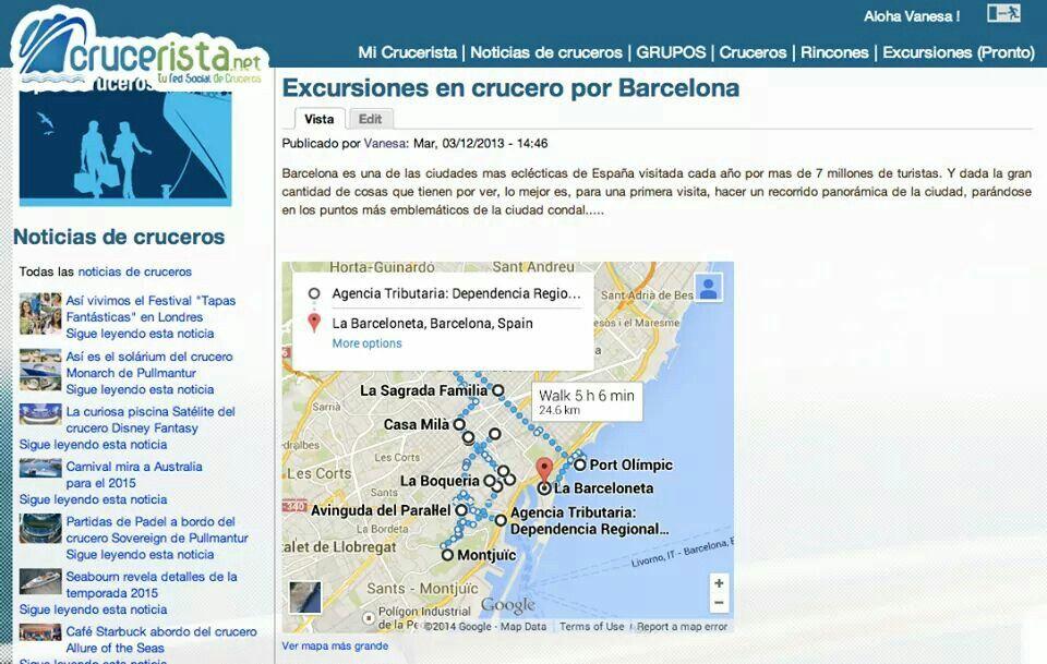 Tu crucero hace escala en Barcelona.  Mira el mapa que hemos preparado para ti en Crucerista.net que no te pierdas nada de la Ciudad Condal.  Excursiones en crucero por Barcelona http://www.crucerista.net/excursiones-en-crucero-por-barcelona