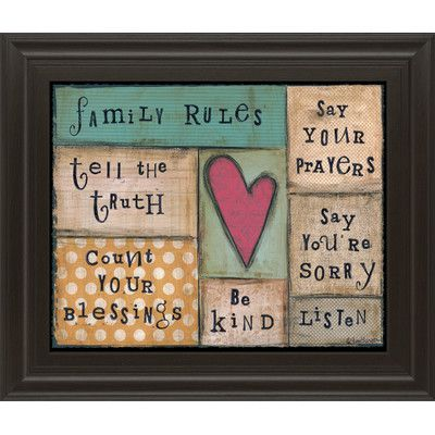 ClassyArtWholesalers Family Rules by Lisa Larson Framed Textual Art