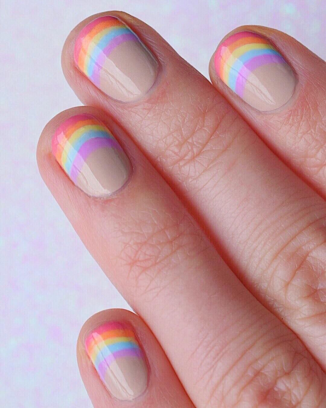 Photo of Rainbow French Manicure Nail Art by @karanailedit
