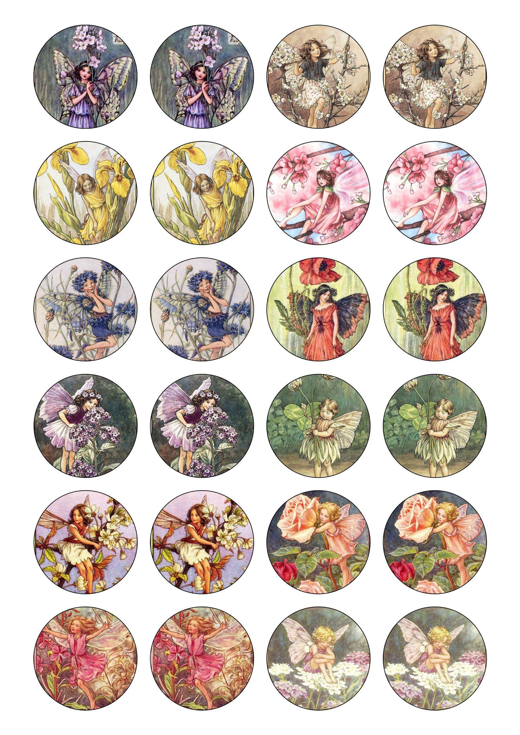24 precut vintage flower fairies fairy edible wafer paper