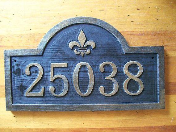 Custom Carved Address Sign Fleur De Lis Antique Brass Finished Wood Fleur De Lis How To Antique Wood Antiques