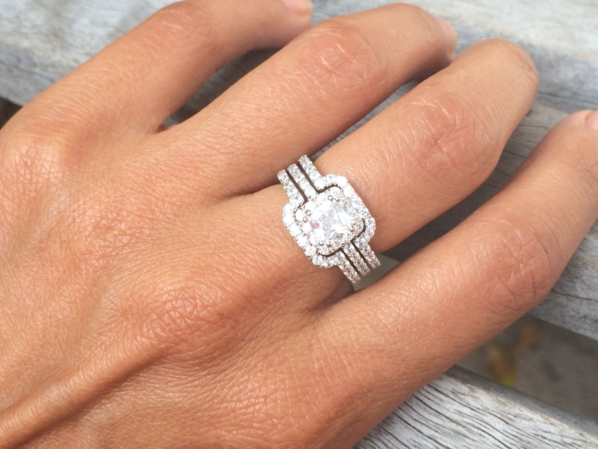 Princess Cut Center Stone Cubic Zirconia Silver Triple Band Engagement Ring Wedding