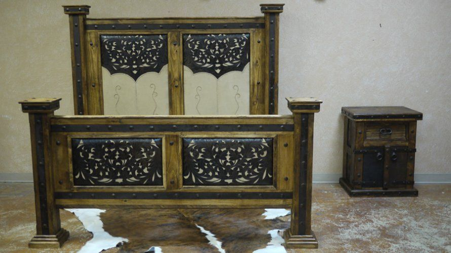 buffalo bill tooled leather bed by the rustic gallery of san antonio texas rustic furniture. Black Bedroom Furniture Sets. Home Design Ideas