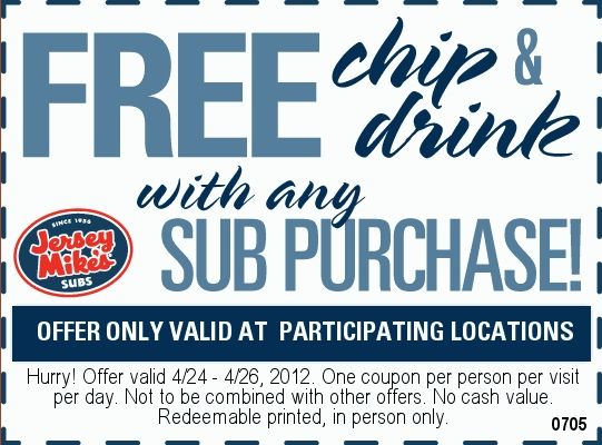 photo about Jersey Mike's Printable Coupon known as Jersey Mikes Subs: Cost-free Chip Consume Printable Coupon
