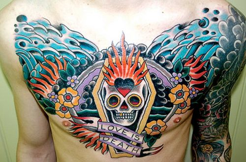 Cool Chest Tattoo Ideas Chesttattoo With Great Color Tattoocolor Tattooideas Tattoorave Coolt Cool Chest Tattoos Chest And Back Tattoo Chest Piece Tattoos