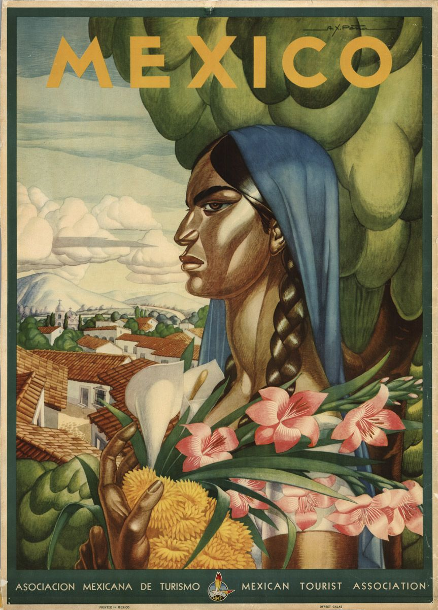 Mexican travel poster from the golden age of calendar art: 1930-1960A - inquire to find a few for sale through www.mainlymexican... #Mexico #Mexican #calendar girl #women #travel #poster