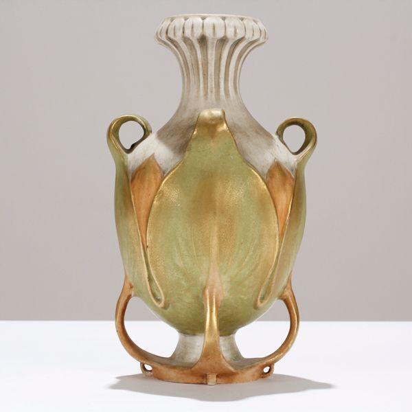 Amphora Austria Art Nouveau gilt handle quatrefoil foliate vase. 3947. 10H.