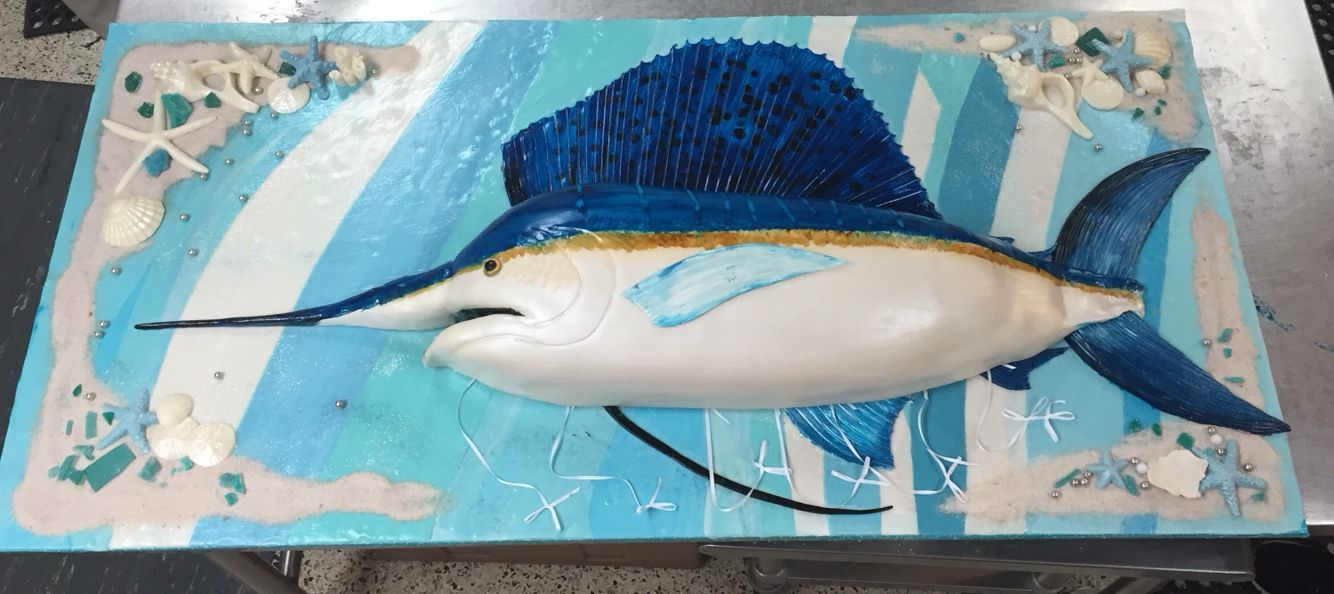 Custom carved sailfish cake fish cake birthday custom