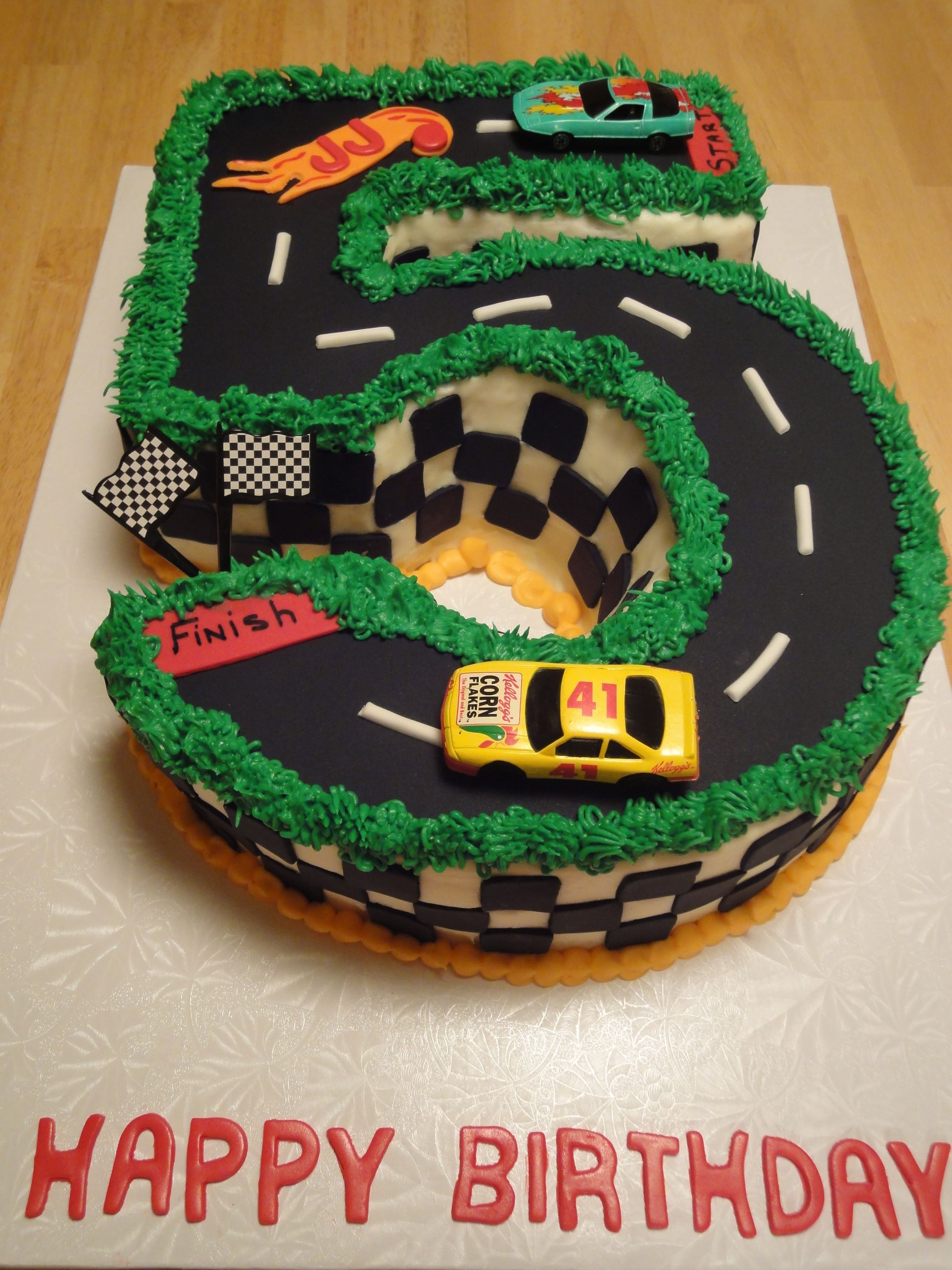 Happy Birthday To A 5 Year Old Boy Hot Wheels Cake