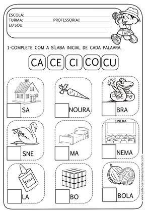 Atividade Pronta Familia Silabica C Silabas Lectura De