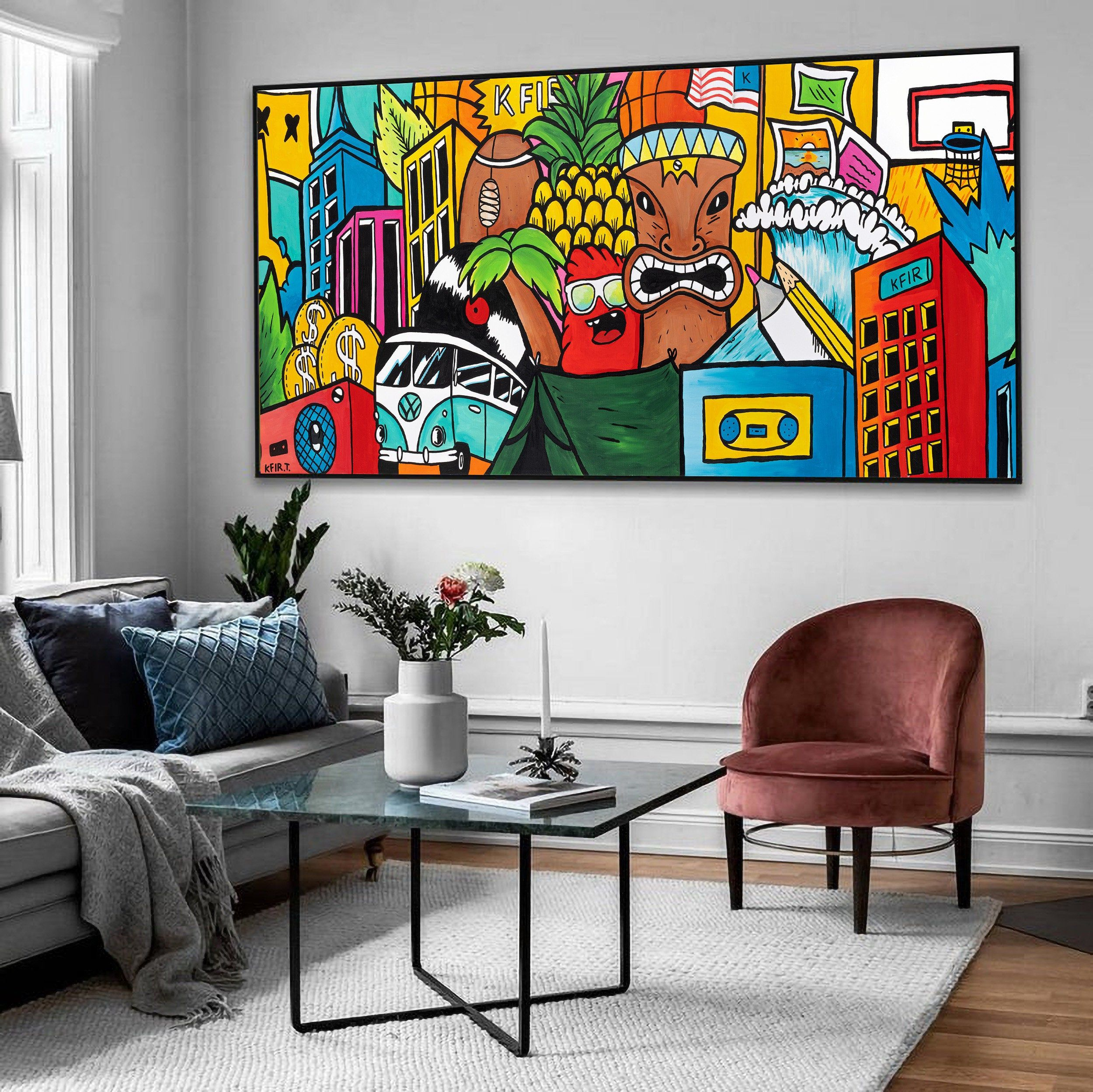 Colorful Graffiti Art Print On Canvas Living Room Wall Etsy Horizontal Wall Art Etsy Wall Art Wall Art Living Room