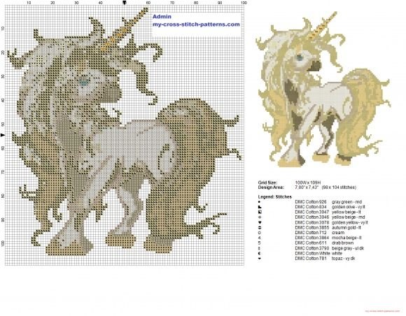 Crema unicornio patrón punto de cruz gratis (click to view) | Bead ...