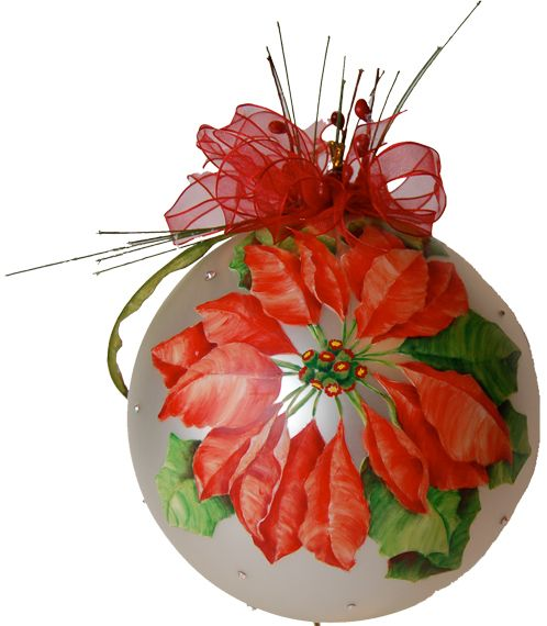 5ce6be1b6 #Glass Christmas ornament. Quality #Swarovski crystals surround the #hand  painted #poinsettia. Topped with a delicate ribbon accented with red  berries and ...