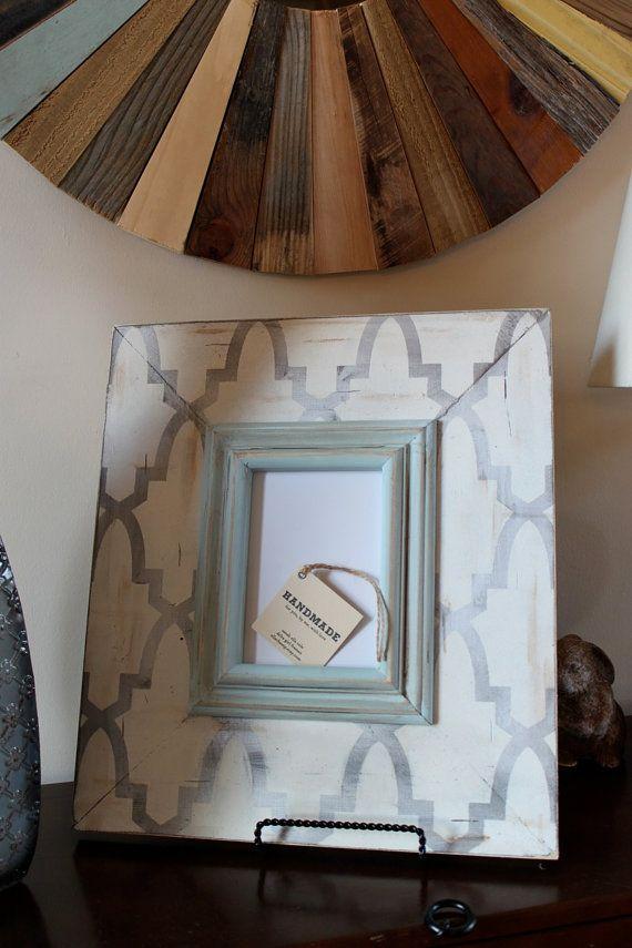 Enrejado angustiado 5 x 7 marco de madera plata con Vintage blanco y ...