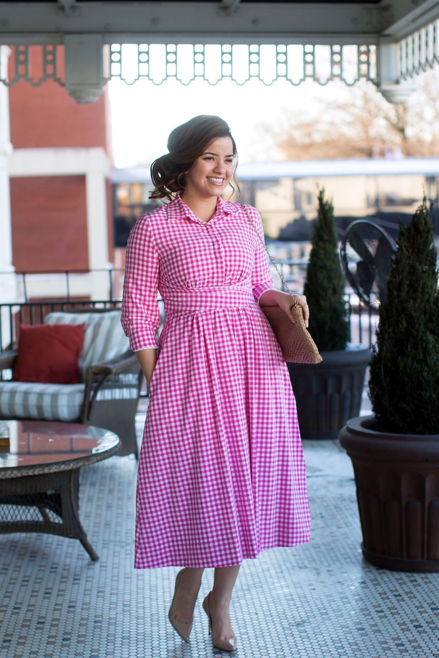Hot Pink Gingham Dress. Modest Apparel and Modest Bridesmaid Styles ...